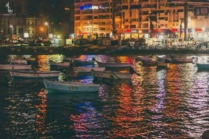 ALEXANDRIA EGYPT SEA NIGHT