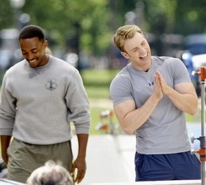 Chris Evans and Anthony Mackie on the set of Captain America: The Winter Soldier