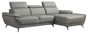 Divani Casa Sterling Modern Light Grey Leather Sectional | ベイ, 湾 Area