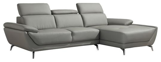 Divani Casa Sterling Modern Light Grey Leather Sectional ...
