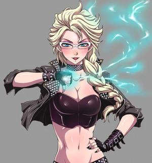 Elsa as a leather clad badass