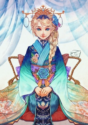 Elsa in a kimono