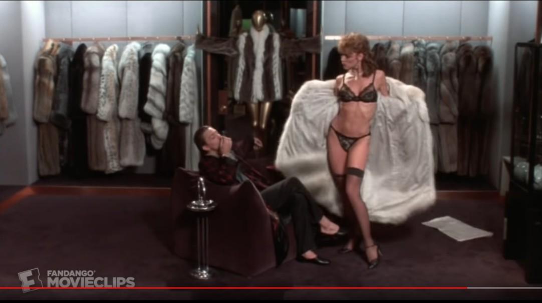 """Emmy (Kim Cattrall) her black lace string bikini underwear - """"Mannequin"""" - 1987"""