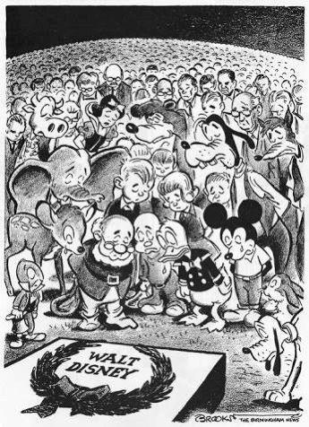 Disney characters mourning Walt Disney