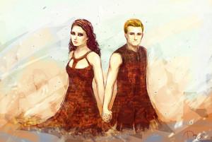 Katniss/Peeta Fanart - Catching ngọn lửa, chữa cháy