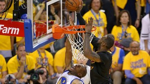 LeBron James blocks Andre Iguodala in Game 7 2016 NBA Finals