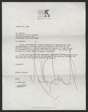 Letter From Michael Jackson