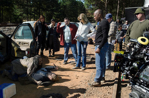 Merritt Wever behind the scenes of The Walking Dead