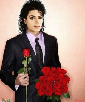 Michael giving anda some roses. Happy Valentine's hari