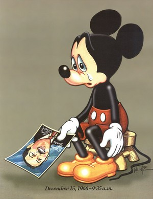 Mickey Mouse grieving Walt Disney