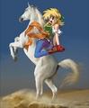 Rubette La Lette riding on her Beautiful White Stallion - anime-girls fan art