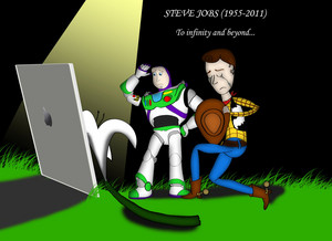 Woody and Buzz grieving Steve jobs