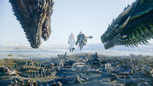 8x01 ~ Winterfell ~ Aegon, Daenerys, Drogon and Rhaegal