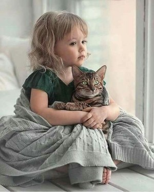 A Little Girl And Her Cat