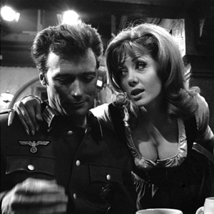 Clint Eastwood and Ingrid Pitt on the set of Where Eagles Dare (1968)
