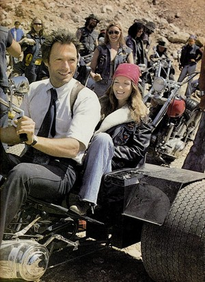 Clint Eastwood and a fan on the set of The Gauntlet 1977