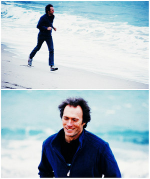 Clint Eastwood jogging along the coast of his property in Carmel May 22, 1982