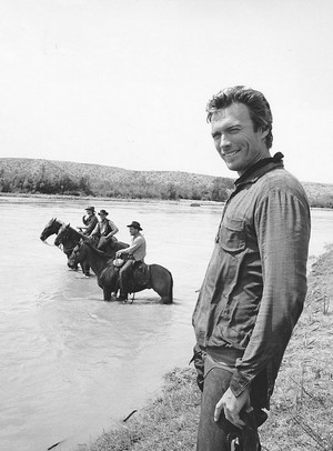 Clint Eastwood photographed on the set of Hang 'Em High (1968)
