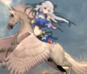 Eleonora Viltaria riding on her Beautiful White Pegasus destriero