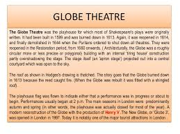 Facts Pertaining To The Globe Theatre