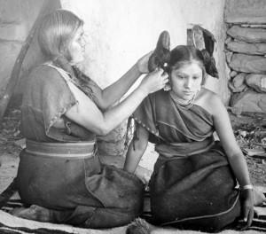 Hopi Woman Dressing Hair (1900)