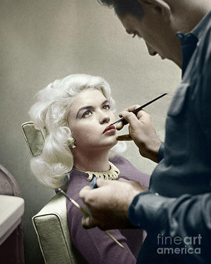 Jayne Mansfield Getting Her Makeup Done