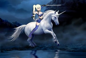 Limalisha riding on her Beautiful White Unicorn destriero