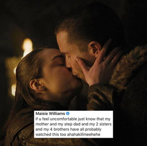 Maisie Williams on the Arya/Gendry scene in 8x02