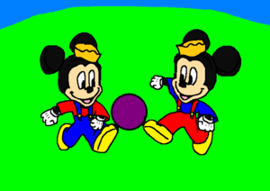 Morty and Ferdie Fieldmouse playing football Ball