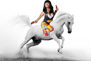 Nicki Minaj riding on her Beautiful White Stallion