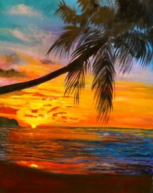 Palm pokok Sunset