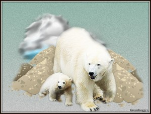 Polar bär With Cub
