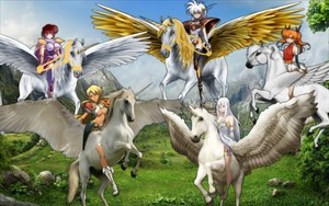 Sonya, Luna, Freya, Tiaris, and Zerdia as Unicorn Masters