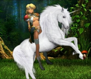 Sonya had finally tamed an Beautiful White Unicorn as her own スティード, 馬