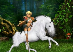 Sonya mounted on an Wild White Unicorn's back