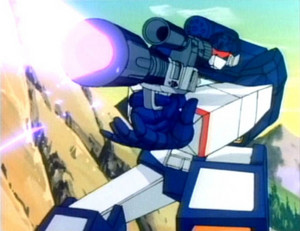 Soundwave holding Megatron in gun mode