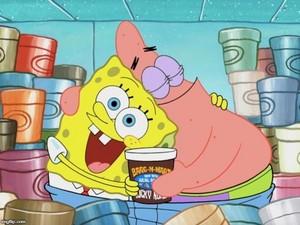 SpongeBob and Patrick with ice cream