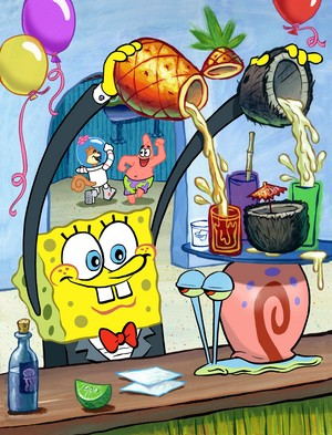 Spongebob in his halaman awal cafe