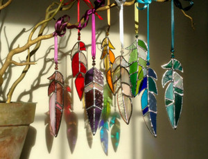 Stained Glass Feather Suncatchers