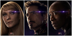 Tony, Pepper and Colonel James Rupert Rhodes ~Avengers: Endgame character posters