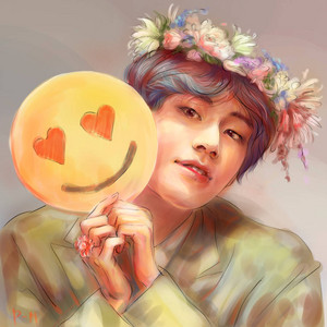 V + smile + Flower