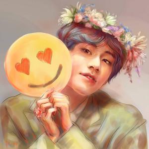 V + smile + цветок