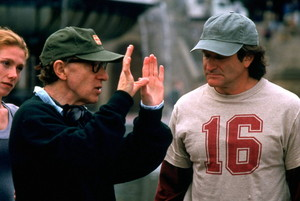 Woody Allen and Robin Williams on the set of Deconstructing Harry (1997)