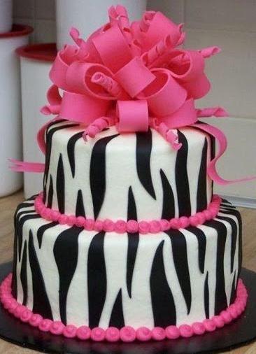 Zebra Inspired Birthday Cake