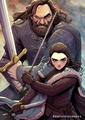 Arya and Hound duo - game-of-thrones fan art