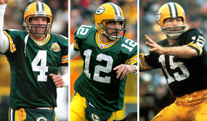 Bart Starr, Aaron Rodgers, and Brett Favre - 15-4-12