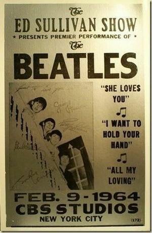 Beatles Autographed Ed Sullivan 1964 poster