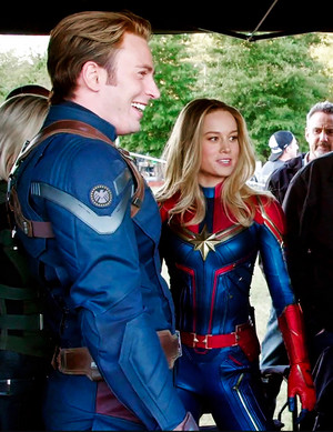 Chris Evans and Brie Larson on the set of Avengers: Endgame