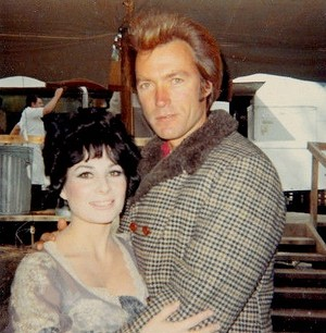Clint Eastwood photographed with an extra on the set of Paint Your Wagon (1969)