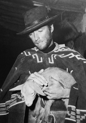 Clint with a lamb in For A Few Dollars More